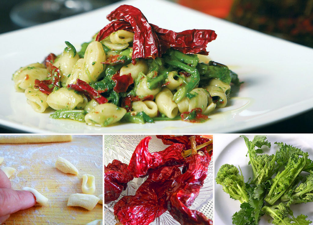 Cavatelli (traditional fresh pasta) with turnip tops and typical dried peppers (peperoni cruschi)