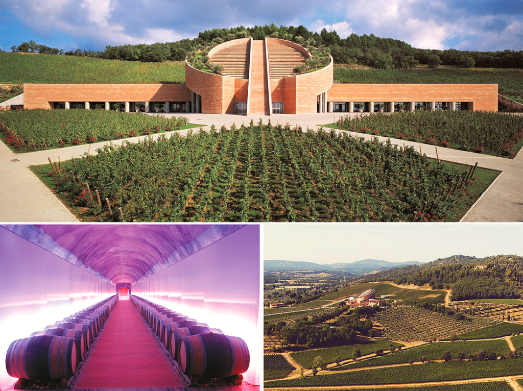 Tuscany, Petra Winery. Close to the ancient village of Suvereto, on the ferrous hills of the Val di Cornia where you can see as far as the Tyrrhenian Sea, the magic of Petra is continuously caressed by winds that revive vine-growing and oenological memories dating back to the Greeks and the Etruscans
