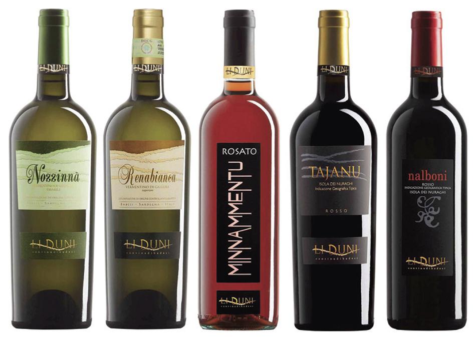 Cantina Li Duni wines: Nozzinnà (Vermentino di Sardegna D.O.C Vermentino 100%), Renabianca (Vermentino di Gallura D.O.C.G. superiore. Vermentino 100%), Minnammentu, Tajanu, Nalboni,