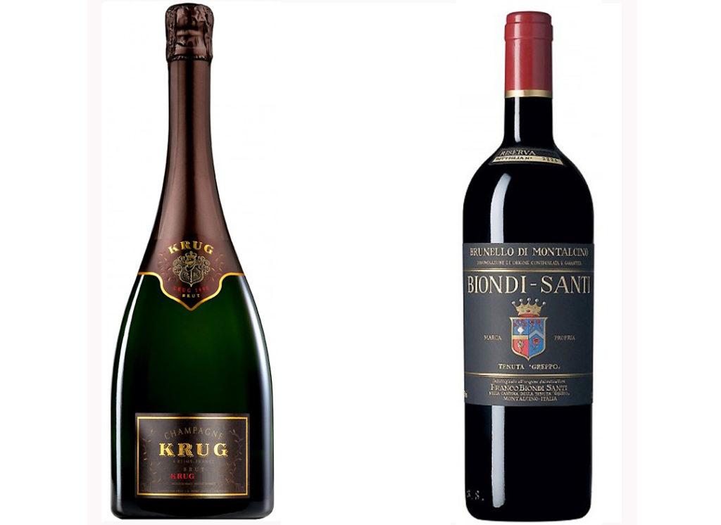 Lo Champagne Krug-2002 Brut ed il Brunello di Montalcino Riserva 2010 Biondi Santi Tenuta Greppo