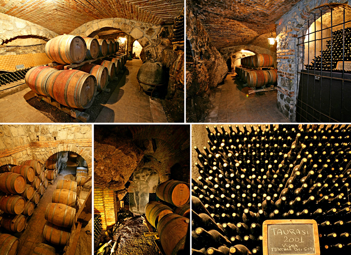 Antonio Caggiano Cellars. The building has a modern technical structure with an antique taste, the visitor can wander through the centres, which gives the impression of a mysterious underground land, between walls made of a large stones, arches and vaults