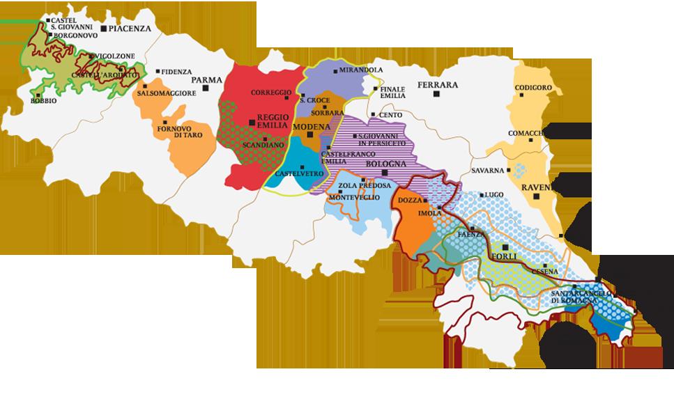 Area geografica dei vini D.O.C.G. e D.O.C. dell'Emilia Romagna